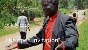 Archbishop Joram of Kenya with his arms open in welcome