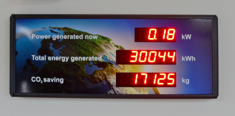 Solar panels display showing lifetime generation of over 30,000 kWh